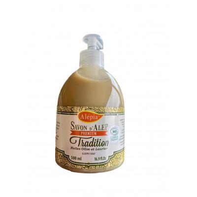 Pouss'Savon liquide d'Alep Premium - Huile d'olive et Laurier- 500 ml - Alépia